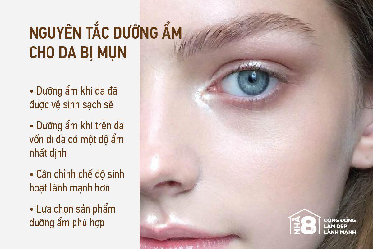 Nguyên tắc dưỡng ẩm cho da mụn